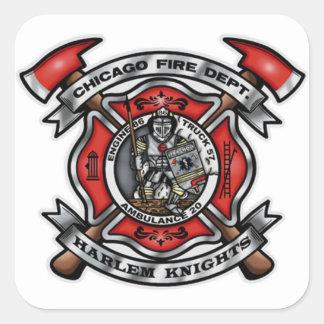 Het Brandweerkorps van Chicago/Harlem Ridders E86 Vierkante Sticker