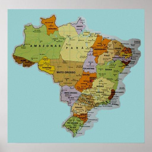 Het Braziliaanse Poster van de Kaart