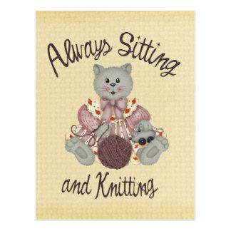 Het breien Kat Briefkaart