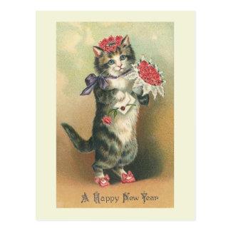 Het Briefkaart Kat van het Gelukkige Nieuwjaar van