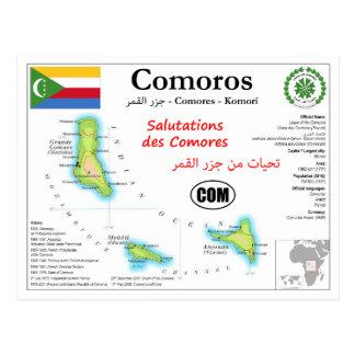 Het Briefkaart van de Kaart van de Comoren