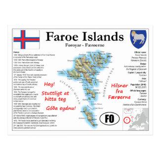 Het Briefkaart van de Kaart van de Faeröer