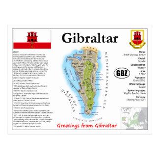 Het Briefkaart van de Kaart van Gibraltar