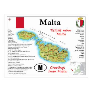 Het Briefkaart van de Kaart van Malta