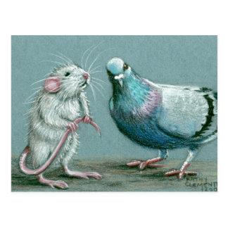 Het Briefkaart van de rat en van de Duif