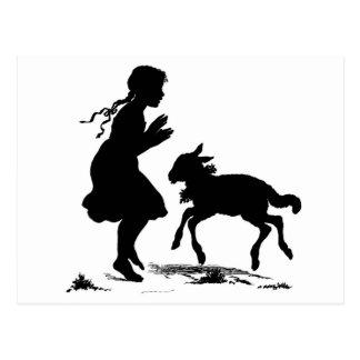Het briefkaart van het meisje en van het lam