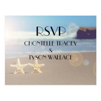het briefkaart van het strandhuwelijk rsvp