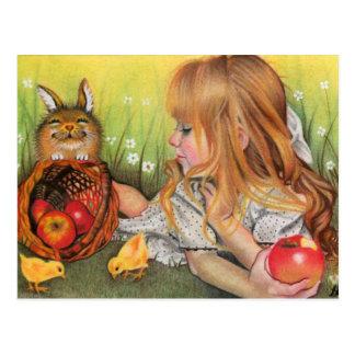 Het briefkaart van kuikens en van Konijntjes