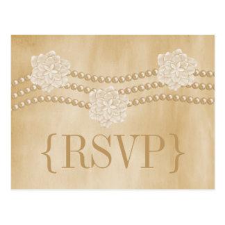 Het Briefkaart van parels en van Bloemen RSVP