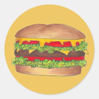 Het Broodje van het Snelle Voedsel van de Ronde Sticker