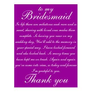 Het bruidsmeisje dankt u briefkaart
