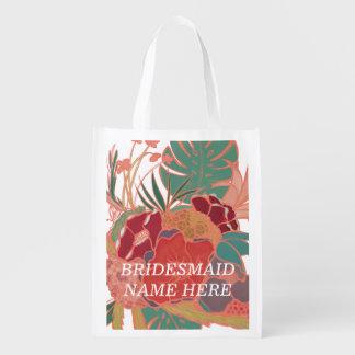 Het bruidsmeisje personaliseerde Bloemen Opnieuw Herbruikbare Boodschappentas