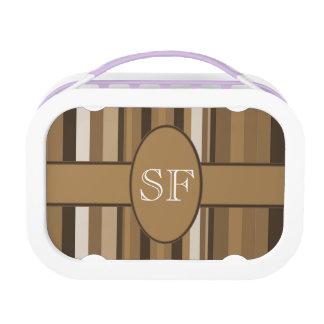 Het bruine Beige Monogram van de Streep Lunchbox