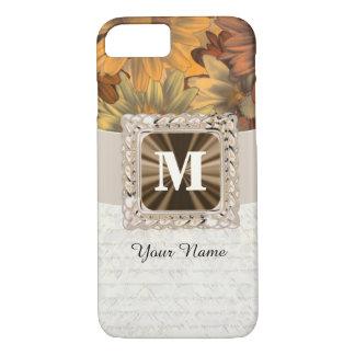 Het bruine bloemen gepersonaliseerde monogram van iPhone 8/7 hoesje