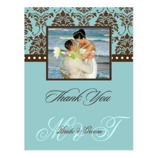 Het bruine Damast dankt u Kleur Photo/DIY Briefkaart