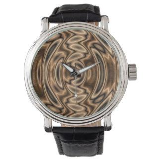 Het bruine en Zwarte Abstracte Horloge van
