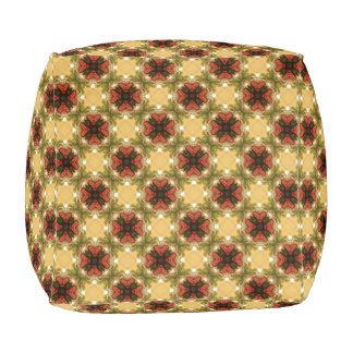 Het bruine, Groene en Abstracte Patroon van de Vierkant Zitkussen