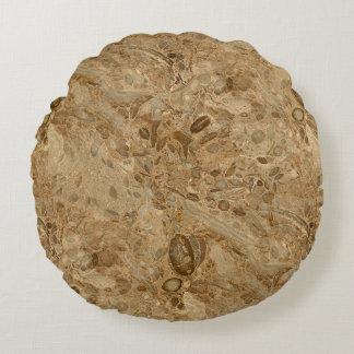 Het bruine Marmeren Fossiel ziet eruit Rond Kussen