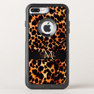 Het bruine Monogram van de Druk van de Luipaard OtterBox Commuter iPhone 7 Plus Hoesje