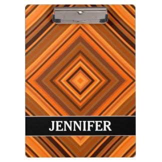 Het bruine & Oranje Patroon van Vierkanten + De Klembord