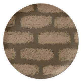 Het bruine Patroon van Bakstenen Diner Bord