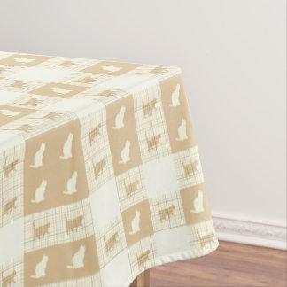 Het bruine Patroon van de Kat van het Schaakbord Tafelkleed