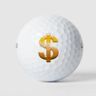 Het bruine Teken van de Dollar van de Gradiënt Golfballen