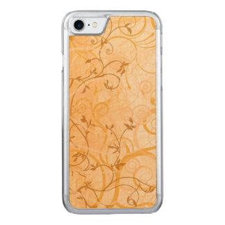het bruine vintage art. van wervelingsbladeren Carved iPhone 8/7 hoesje