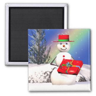 Het Cadeau van de sneeuwman Vierkante Magneet