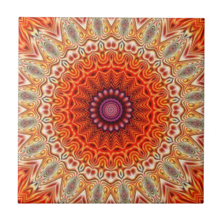 Het caleidoscopische Oranje en Witte Ontwerp van Tegeltje Vierkant Small