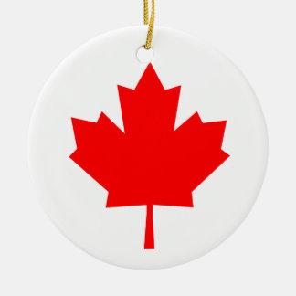 Het Canadese Blad van de Esdoorn Rond Keramisch Ornament