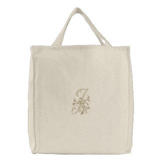Het Canvas tas van het Monogram J van bloemen