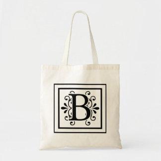 Het Canvas tas van het Monogram van de brief B