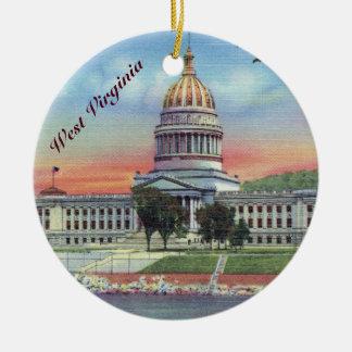 Het Capitool Staat van de West- van Virginia Rond Keramisch Ornament