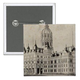 Het Capitool van de staat, Hartford Vierkante Button 5,1 Cm