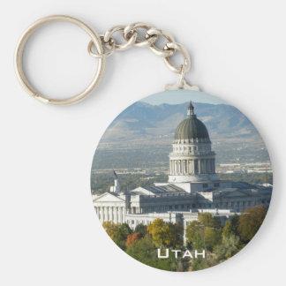 Het Capitool van de Staat van Utah - Salt Lake Basic Ronde Button Sleutelhanger
