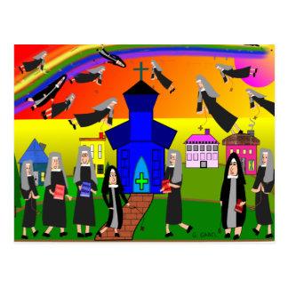 """Het Capricieuze Art. van nonnen van de """"Vliegende Briefkaart"""