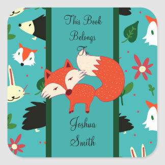 Het capricieuze Retro Rode Ontwerp Bookplate van Vierkante Sticker