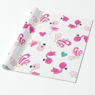 Het capricieuze Roze Patroon van de Flamingo Inpakpapier
