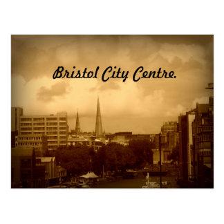 Het Centrum van de Stad van Bristol. In Sepia. Briefkaart