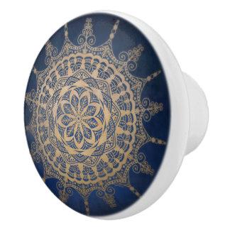 Het ceramische Blauwe Gouden Ontwerp van de Knop