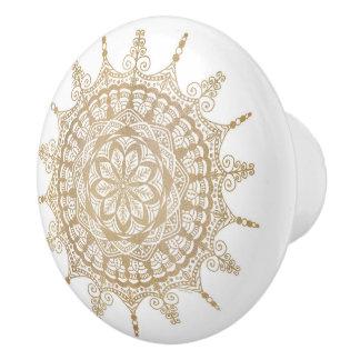 Het ceramische Gouden Ontwerp Mandala van de Knop