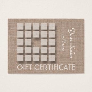 Het Certificaat van de Gift van de salon - Linnen Visitekaartjes