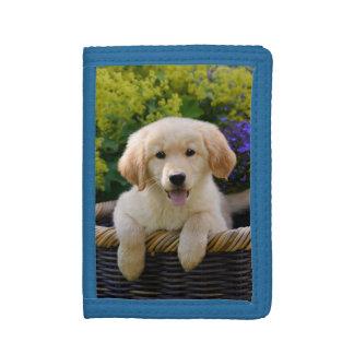 Het charmante Leuke Puppy van de Hond Goldie, Drievoud Portemonnee