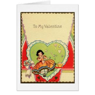 Het charmeren Vintage Valentijn met Mooie Meisje Wenskaart