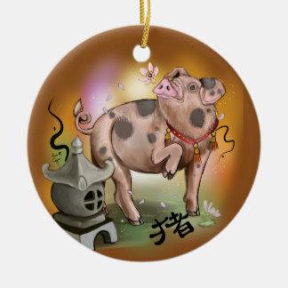 Het Chinese Jaar van de Dierenriem van het Varken Rond Keramisch Ornament