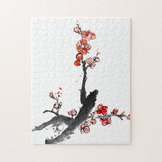 Het Chinese schilderen van bloemen, pruimbloesem Puzzel