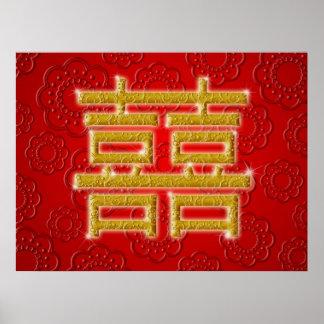 Het Chinese Symbool van het Geluk van het Huwelijk Poster