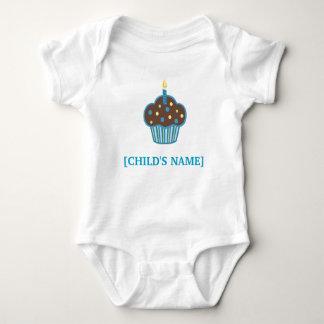 Het chocoladebruine en Blauwe Overhemd van Cupcake Romper