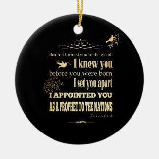 Het Christelijke Bijbelse Vers van de Bijbel - 1:5 Rond Keramisch Ornament